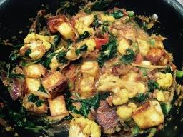 Cauliflower and paneer curry