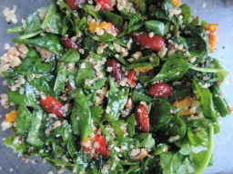 Roasted red pepper, quinoa and almond salad