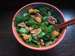 Spicy roasted sweet potato and kale salad